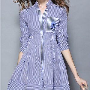 Blue Stripes Pattern Bead Brooch Mini Dress